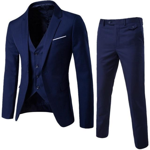 The Groomsman by Markee 3 Piece Mens Business Suit  -  Navy Blue / L  -  Suits  - SNS Outlet