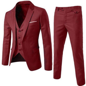 The Groomsman by Markee 3 Piece Mens Business Suit  -  Red / L  -  Suits  - SNS Outlet
