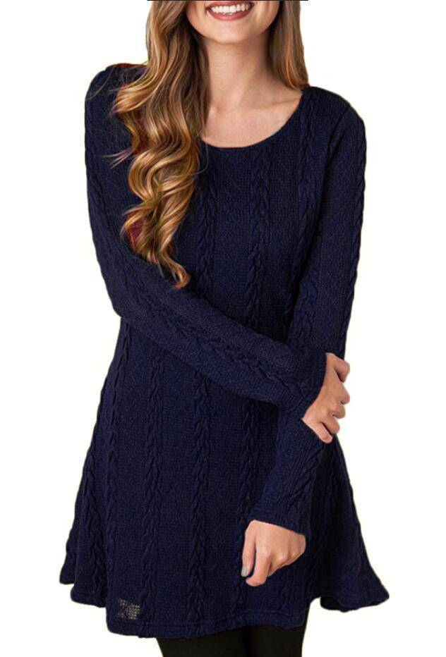 The Short Sweater Dress (PLUS SIZE UP TO 5X)  -  Blue / S  -  Dresses  - SNS Outlet