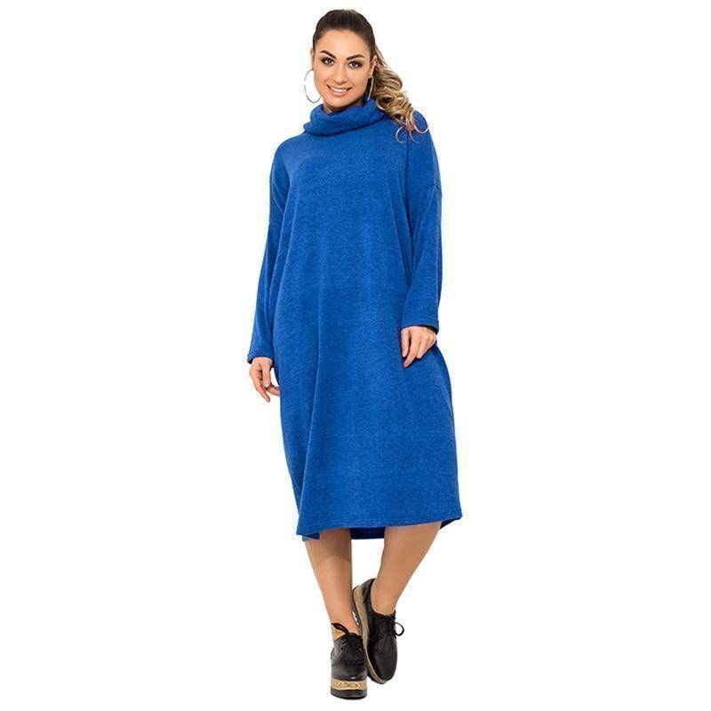 The Turtleneck Sweater Dress  (PLUS SIZE UP TO 6X)  -  Blue / XL  -  Dresses  - SNS Outlet