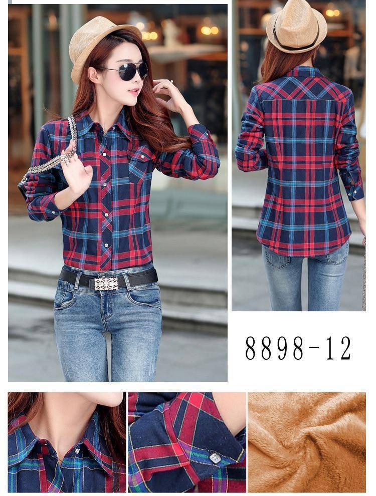 The Wookie - Women's Lined Flannel  -  8898012 / L  -  Blouses & Shirts  - SNS Outlet