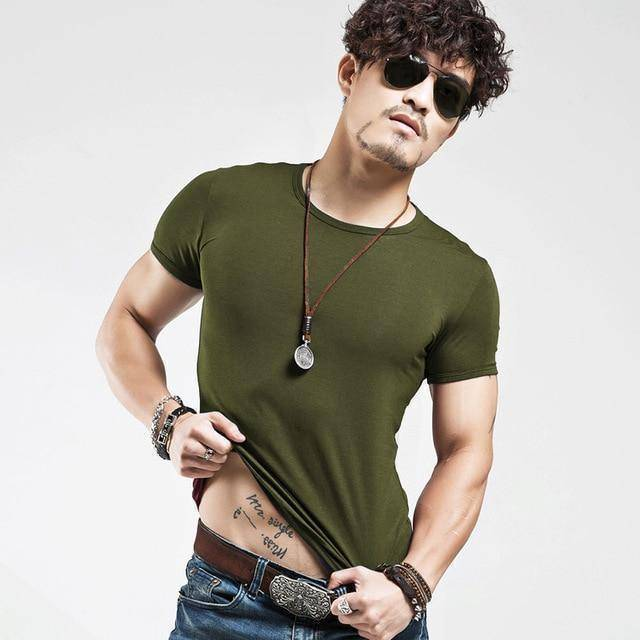 V Neck Tee  -  O Army / S  -  T-Shirts  - SNS Outlet