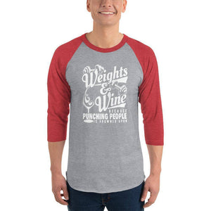 Weights & Wine Raglan 3/4 Sleeve Women's T-shirt  -  Heather Grey/Heather Red / XS  -  T-shirt  - SNS Outlet