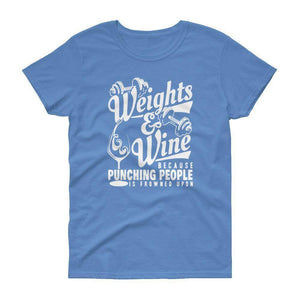 Weights & Wine Women's T-Shirt  -  Carolina Blue / S  -  T-shirt  - SNS Outlet