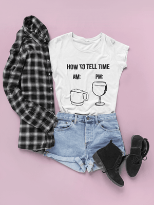 Wine Time Women's T-Shirt  -  White / S  -  T-shirt  - SNS Outlet