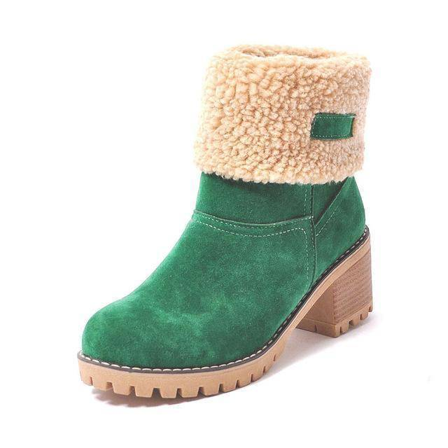 WOLF Waterproof Fur Boots  -  green / 4  -  Boots  - SNS Outlet