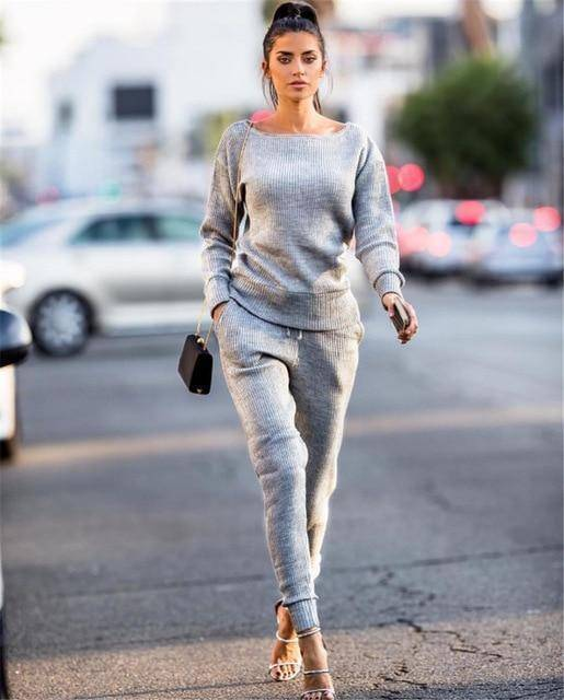 Women's Casual Jogger Set  -  Grey / S  -  Track Suit  - SNS Outlet