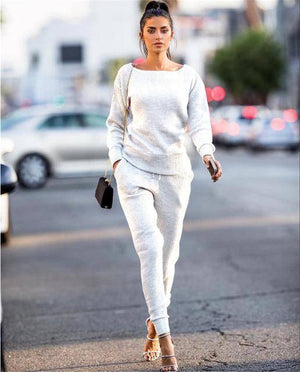 Women's Casual Jogger Set  -  White / S  -  Track Suit  - SNS Outlet