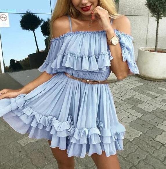 Women's Casual Off The Shoulder Summer Beach Dress  -  Blue / S  -  Off The Shoulder Dress  - SNS Outlet