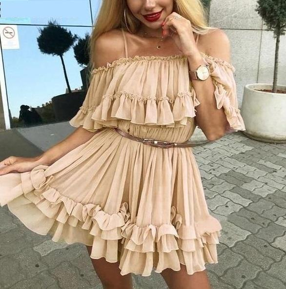 Women's Casual Off The Shoulder Summer Beach Dress  -  Nude / S  -  Off The Shoulder Dress  - SNS Outlet