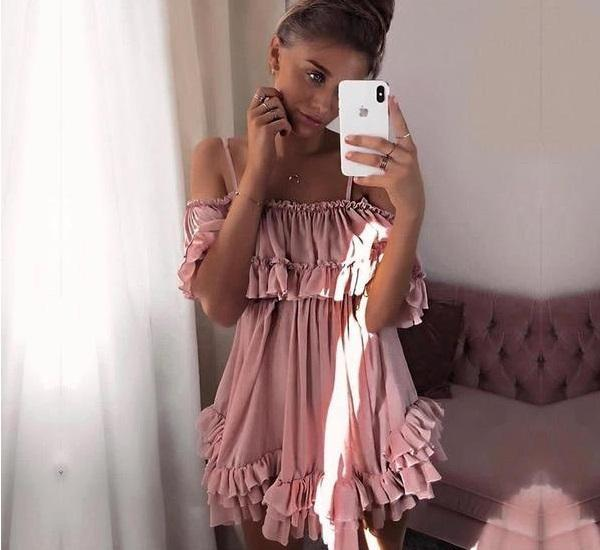 Women's Casual Off The Shoulder Summer Beach Dress  -  Pink / S  -  Off The Shoulder Dress  - SNS Outlet