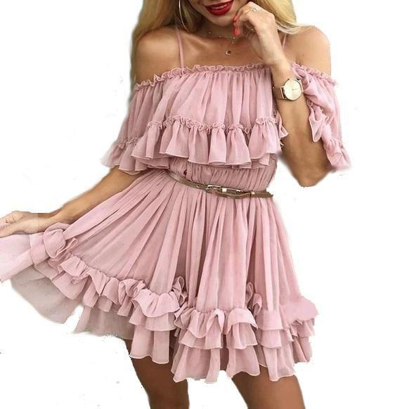 Women's Casual Off The Shoulder Summer Dress  -  Pink / S  -  Off The Shoulder Dress  - SNS Outlet