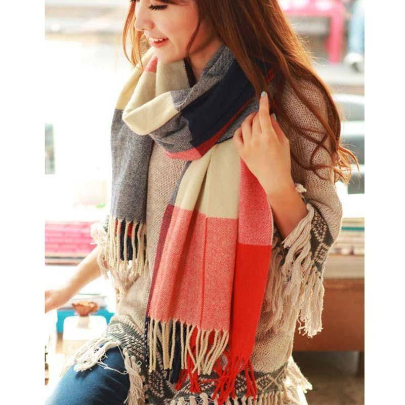 Wool Plaid Winter Long Scarf  -  pink / One Size  -  Scarf  - SNS Outlet