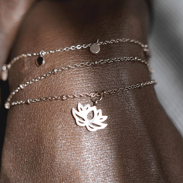 Lotus Charm Ball Chain Bracelet - aaina & co