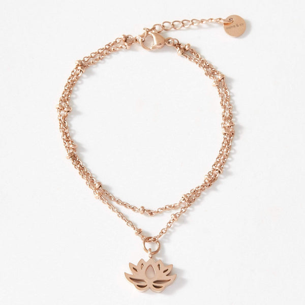 aaina & co Bracelet Lotus Charm Ball Chain Bracelet