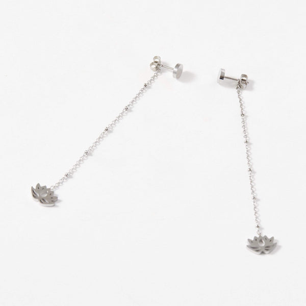 Lotus Charm Drop Ball Chain Earrings - aaina & co