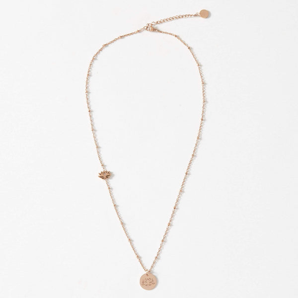 aaina & co Necklace Short Lotus Charm Ball Chain Necklace