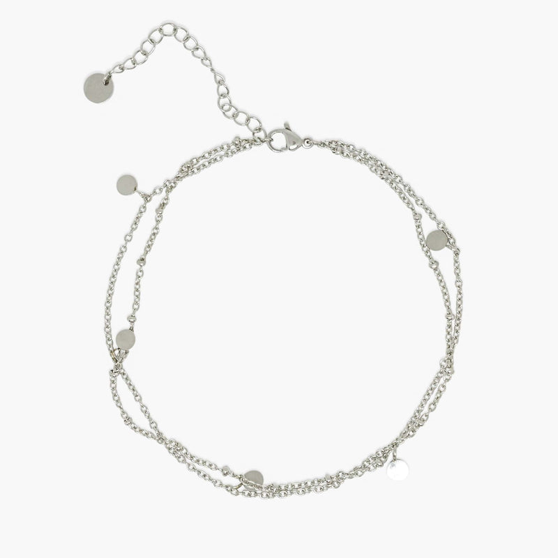 aaina & co silver Dainty Double Chain Anklet