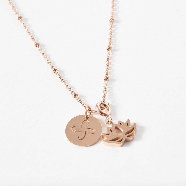 Tabono and Lotus Charm Ball Chain Necklace - aaina & co