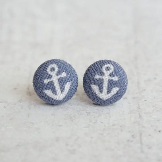Navy Anchor Button Earring - GooeyGump Designs