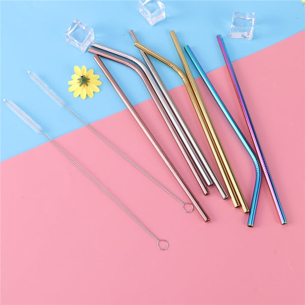 11 Pcs Stainless Steel Drinking Straws