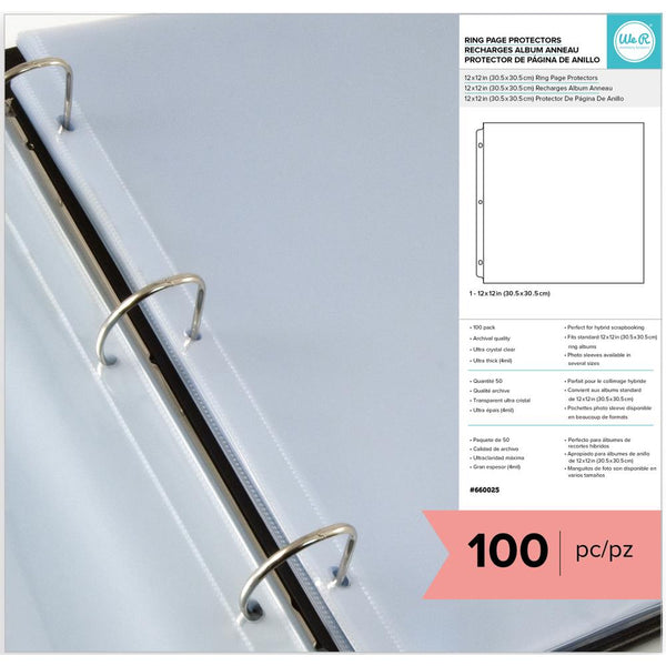 "098332 We R Ring Page Protectors 12""X12"" 100/Pkg"