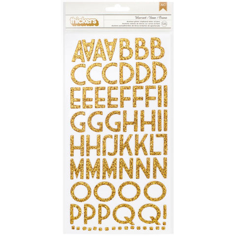 201153 American Crafts Chipboard Alphabet Stickers Wisecrack-Gold Glitter, 135/Pkg