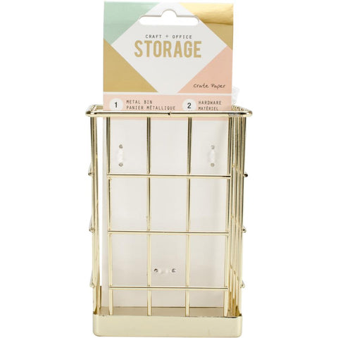 221613 Crate Paper Wire System Metal Storage Bin-Small Gold (2PC)