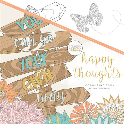 "305053 KaiserColour Perfect Bound Coloring Book 9.75""X9.75"" Happy Thoughts"