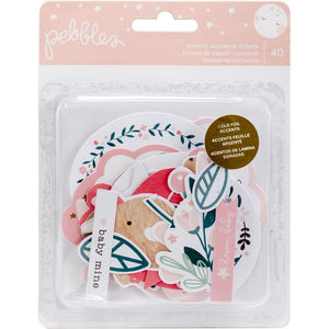 338439 Night Night Baby Girl Ephemera Cardstock Die-Cuts 40/Pkg-W/Gold Foil