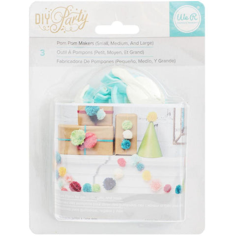 We R DIY Party Pom Pom Maker 3/Pkg Small, Medium & Large
