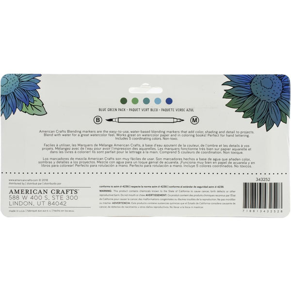 557630 American Crafts Blending Markers 5/Pkg Blue Green