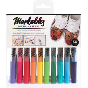 559041 Brush Tip Markables Fabric Markers 30/Pkg Permanent