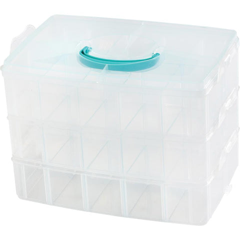 "572315 We R 3-Tier Snap Box Translucent Plastic Storage-10.2""X6.6""X7.3"" Case"