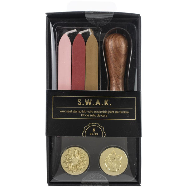571237 American Crafts S.W.A.K. Wax Seal Kit 6/Pkg-Sunflower/Rose