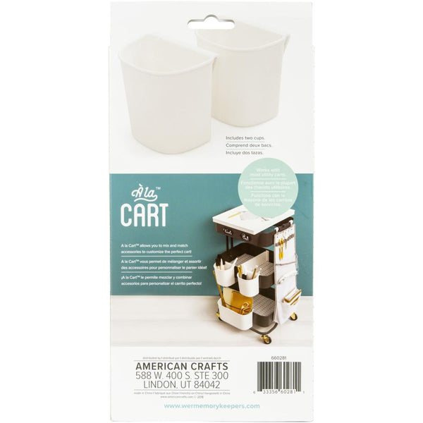 We R A La Cart Small Hanging Cups 2/Pkg White