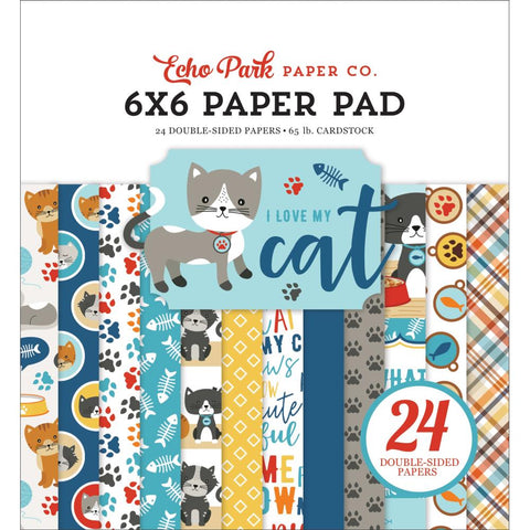 "Echo Park Double-Sided Paper Pad 6""X6"" 24/Pkg-I Love My Cat, 12 Designs/2 Each"