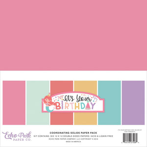 "Echo Park Double-Sided Solid Cardstock 12""X12""6/Pkg -It's Your Birthday Girl, 6 Colors"