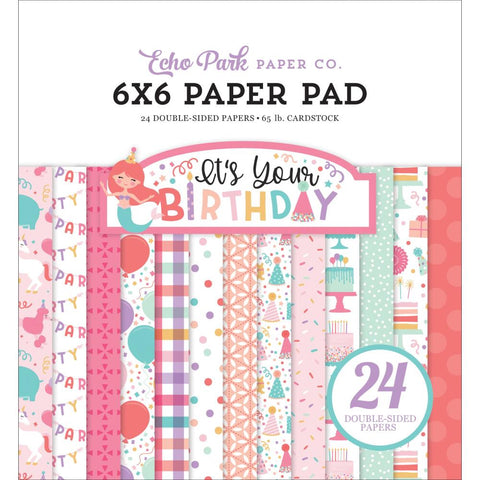 "Echo Park Double-Sided Paper Pad 6""X6"" 24/Pkg-It's Your Birthday Girl, 12 Designs"