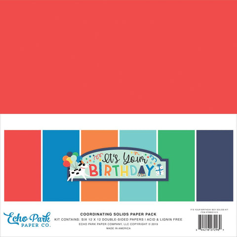 "Echo Park Double-Sided Solid Cardstock 12""X12""6/Pkg -It's Your Birthday Boy, 6 Colors"