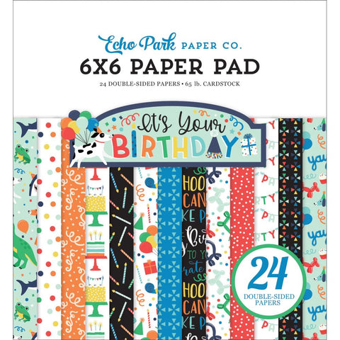 "Echo Park Double-Sided Paper Pad 6""X6"" 24/Pkg-It's Your Birthday Boy, 12 Designs"