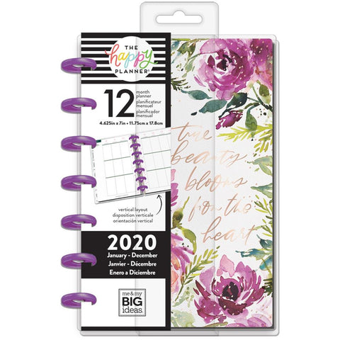 "Happy Planner 12-Month Dated Mini Planner 7""X4.625"" Spring Floral, Jan - Dec 2020"
