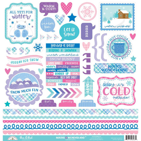 "Doodlebug This & That Cardstock Stickers 12""X12"" Winter Wonderland This & That"