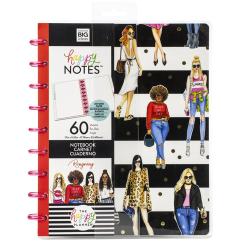Happy Planner X Rongrong Notebooks W/60 Sheets B/W Stripe