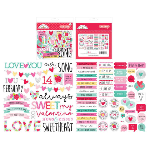 619527 Doodlebug Odds & Ends Chit Chat Die-Cuts Love Notes, 79/Pkg
