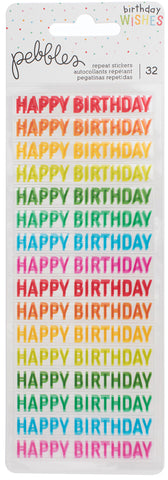 201797 Happy Hooray Clear Repeat Stickers 2/Pkg-Happy Birthday