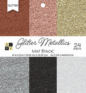 "211351 DCWV Single-Sided Cardstock Stack 6""X6"" 24/Pkg-Glitter Metallics Solid"