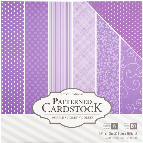 "214536 Core'dinations Patterned Cardstock Value Pack 12""X12"" 60/Pkg-Purple"