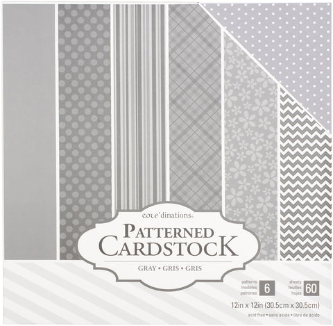 "214541 Core'dinations Patterned Cardstock Value Pack 12""X12"" 60/Pkg-Gray"