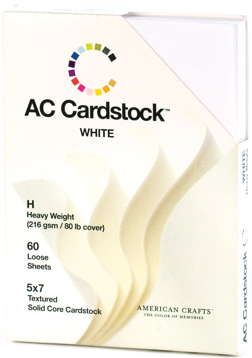 "222081 American Crafts Textured Cardstock Pack 5""X7"" 60/Pkg-Solid White"